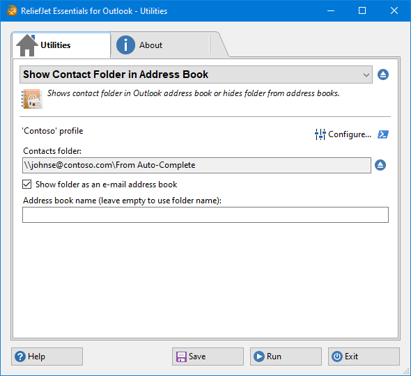 Show Contact Folder in Address Book