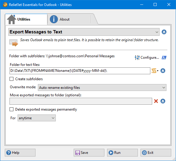 Export Messages to Text Files