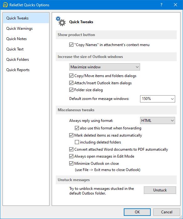 ReliefJet Quick Tweaks for Outlook