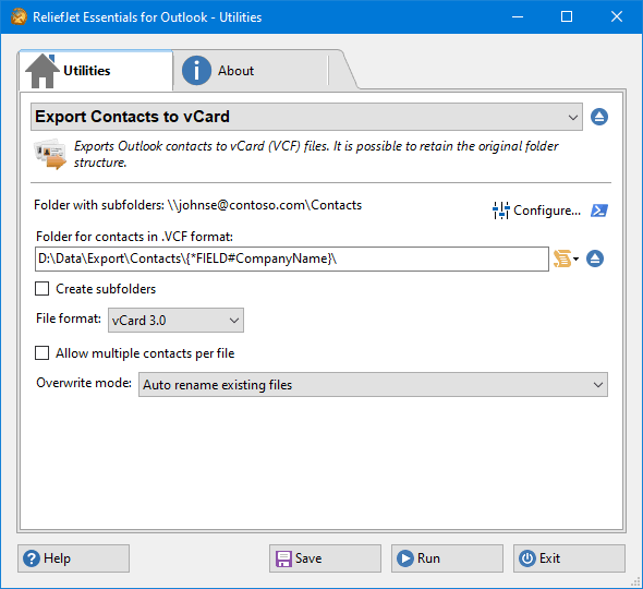 Export Contacts to vCard - ReliefJet for Outlook