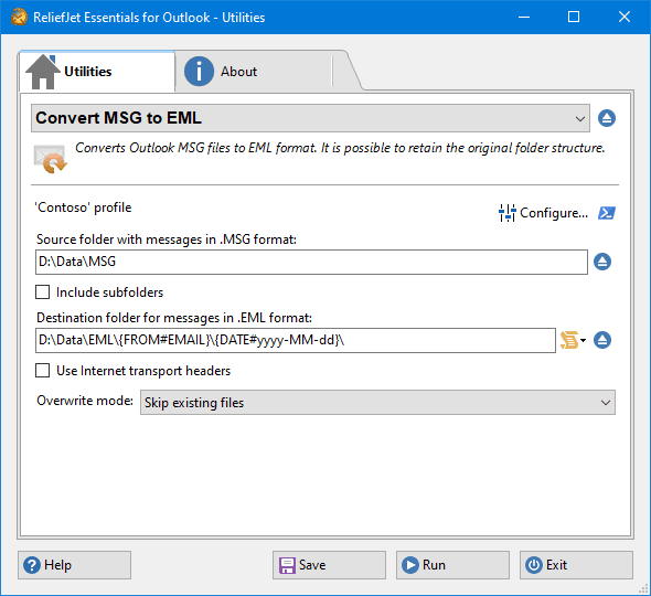 Convert MSG to EML - ReliefJet for Outlook