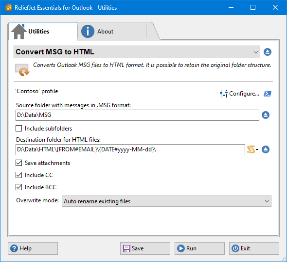 Convert Outlook MSG to HTML Files