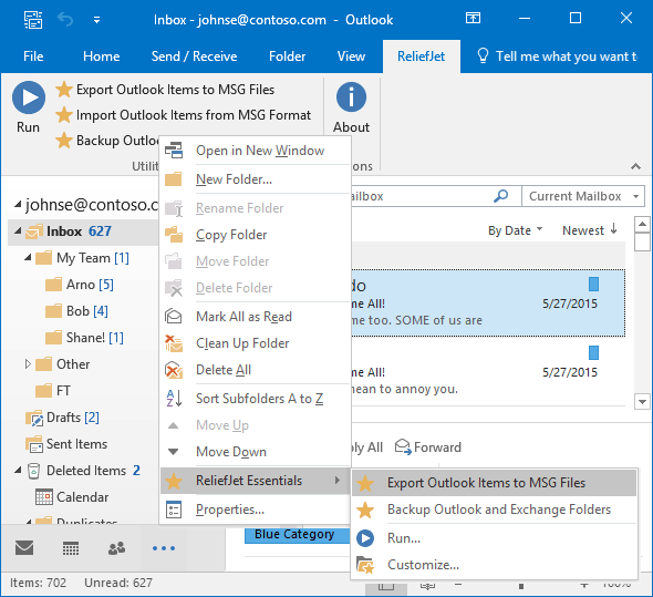 Export from Outlook to MSG using ReliefJet add-In