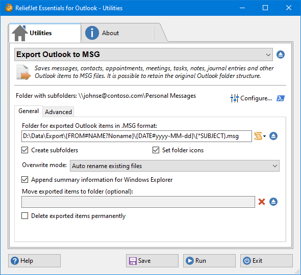 Export Outlook Items to MSG Files