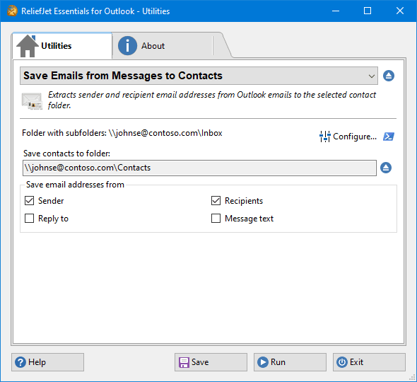 Save Email Addresses from Messages to Contact Folder